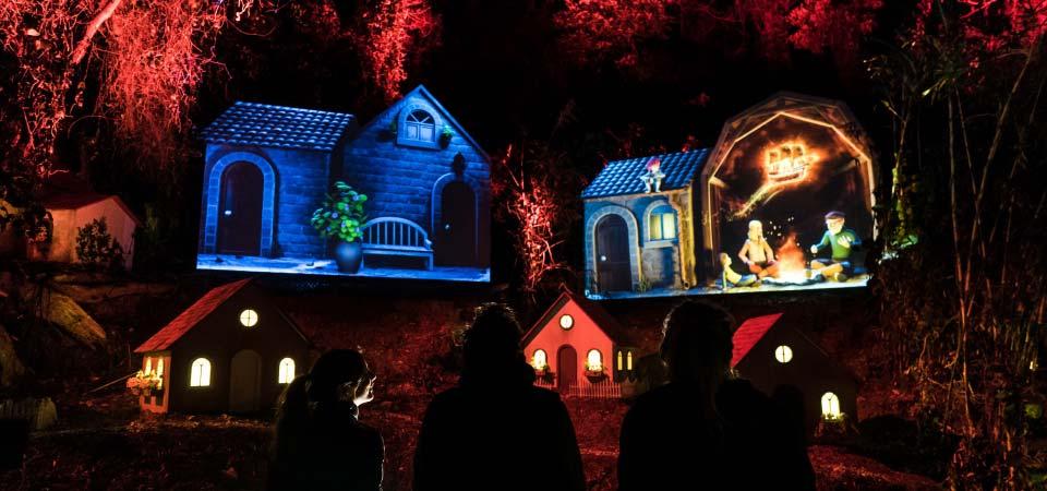 伊王島の森と最新のプロジェクションマッピングが一体になり物語に引き込まれる「はじまりの村」。